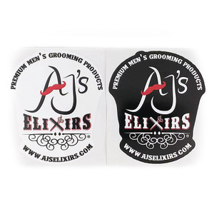 AJ's Elixirs Gold-Class Grooming Branded® vinyl stickers available in black or white designs.