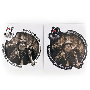 AJ's Elixirs Gold-Class Grooming Products® vinyl stickers available in black or white prospector designs.