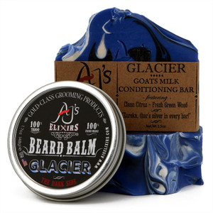 AJ's Elixirs gift pack of Beard Balm and Men's Bar Soap in Glacier scent.
