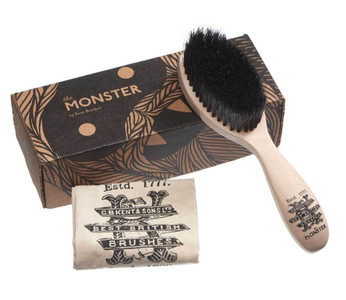 The NEW large Kent Monster Beard Brush for home or travel with printed hand stitched bag and gift box.