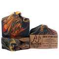 """AJ's Elixirs Goats Milk Bar Soap in Hot Forged scent; this creamy, moisturizing skin and hair loving bar has notes of Balsam, Nutmeg, Cinnamon and Maple. Looks like fire, because this bar is fire! """"Smells like man"""" say users!"""