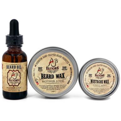 AJ's Elixirs premium styling pack features Beard oil, Beard Wax and Mustache Wax.