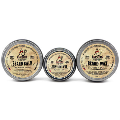 AJ's Elixirs condition and style beard care kit contains Beard Balm, Beard and Mustache Wax.