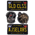 AJ's Elixirs Gold-Class Grooming® vinyl stickers available in Licensed Gold Class, Licensed Branded, Logo, and Prospector designs.