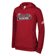 Braintree Bandits AAU Adidas Youth Red Fleece Hoodie with Bandits Neck tag