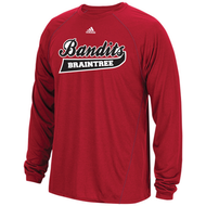 Braintree Bandits Adidas Youth Red Climalite Longsleeve Tee with Bandits Neck tag