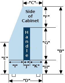 Speaker cabinet with angled top half 4 by 12 slant cabinet diagram side view