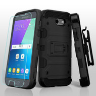 Storm Tank Holster Case + Tempered Glass for Samsung Galaxy J3 (2017) / J3 Emerge / J3 Prime / Amp Prime 2 - Black
