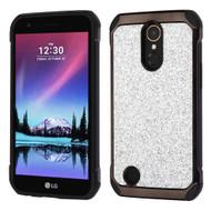 Tough Hybrid Case with Glitter Backing for LG K20 Plus / K20 V / K10 (2017) / Harmony - Silver