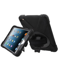 3-IN-1 Hybrid Armor Case with Hand Strap and Rotatable Stand for iPad Mini 4 - Black