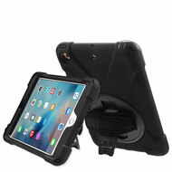 3-IN-1 Hybrid Armor Case with Hand Strap and Rotatable Stand for iPad Mini - Black