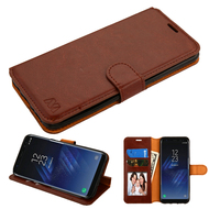 Book-Style Leather Folio Case for Samsung Galaxy S8 Plus - Brown