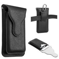 Premium Dual Pockets Vertical Leather Pouch Case - Black