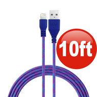 10 ft. Eco-Friendly Braided Nylon Fiber Lightning Connector to USB Charge and Sync Cable - Purple