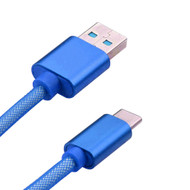 Mesh Type-C Charge and Sync USB 3.1 Cable - Blue