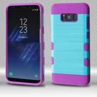 Military Grade Certified TUFF Trooper Dual Layer Hybrid Armor Case for Samsung Galaxy S8 Plus - Baby Blue Purple