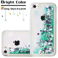 Quicksand Glitter Transparent Case for iPhone 5C - Teal Green