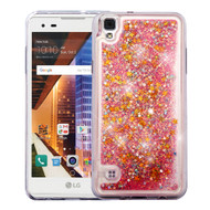 Quicksand Glitter Transparent Case for LG Tribute HD / X Style - Pink