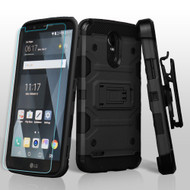 *SALE* Military Grade Storm Tank Holster Case + Shatter-Proof Screen Protector for LG Stylo 3 / Stylo 3 Plus - Black