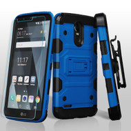 Military Grade Storm Tank Holster Case + Shatter-Proof Screen Protector for LG Stylo 3 / Stylo 3 Plus - Blue