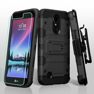 Military Grade Storm Tank Hybrid Case + Holster Screen Protector for LG K20 Plus / K20 V / K10 (2017) / Harmony - Black