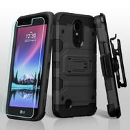 Military Grade Storm Tank Hybrid Case + Holster Screen Protector for LG K20 Plus / K20 V / K10 (2017) / Harmony - Black