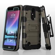 *SALE* Military Grade Storm Tank Case + Holster + Screen Protector for LG K20 Plus / K20 V / K10 (2017) / Harmony - Grey