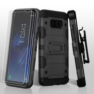 Military Grade Certified Storm Tank Hybrid Case with Holster and Screen Protector for Samsung Galaxy S8 Plus - Black