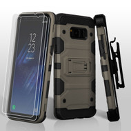 *SALE* Military Grade Storm Tank Hybrid Case with Holster and Screen Protector for Samsung Galaxy S8 Plus - Grey