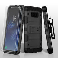 *SALE* Military Grade Certified Storm Tank Hybrid Case with Holster and Screen Protector for Samsung Galaxy S8 - Black