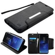 Designer Leather Wallet Shell Case for Samsung Galaxy S8 - Black