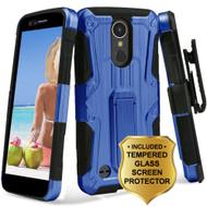*SALE* Hybrid Armor Case + Holster + Tempered Glass Protector for LG K20 Plus / K20 V / K10 (2017) / Harmony - Blue