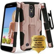 *SALE* Hybrid Armor Case + Holster + Tempered Glass Screen Protector for LG K20 Plus / K20 V / Harmony - Rose Gold