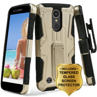 *SALE* Hybrid Armor Case + Holster + Tempered Glass Screen Protector for LG K20 Plus / K20 V / Harmony - Gold