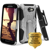 *SALE* HD Holster Case + Tempered Glass for Samsung Galaxy J3 (2017) / J3 Emerge / J3 Prime / Amp Prime 2 - Silver