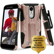 *SALE* Hybrid Case with Holster and Tempered Glass Screen Protector for LG Aristo / Fortune / Phoenix 3 - Rose Gold