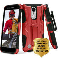 *SALE* Hybrid Case + Holster + Tempered Glass Screen Protector for LG Aristo / Fortune / K8 (2017) / Phoenix 3 - Red