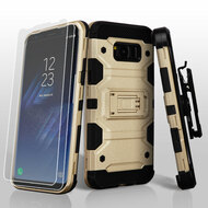 Military Grade Certified Storm Tank Hybrid Case with Holster and Screen Protector for Samsung Galaxy S8 - Gold