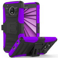 *SALE* Advanced Armor Hybrid Kickstand Case with Holster for Motorola Moto G5 Plus - Black Purple