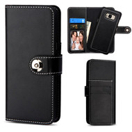 *SALE* 2-IN-1 Premium Leather Wallet with Removable Magnetic Case for Samsung Galaxy S8 Plus - Black