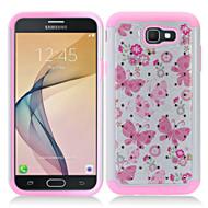 *SALE* TotalDefense Diamond Hybrid Armor Case for Samsung Galaxy J7 (2017) / J7 V / J7 Perx - Butterfly Pink