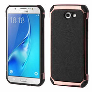 Electroplated Tough Hybrid Case with Leather Backing for Samsung Galaxy J7 (2017) / J7 V / J7 Perx - Black