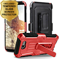 *SALE* Hybrid Armor Case + Holster + Tempered Glass for Samsung Galaxy J7 (2017) / J7 V / J7 Perx - Red