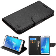 Diary Leather Wallet Case for Samsung Galaxy J7 (2017) / J7 V / J7 Perx - Black