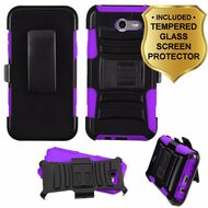 *SALE* Advanced Hybrid Case + Holster + Tempered Glass Protector for Samsung Galaxy J7 (2017) / J7 V / J7 Perx - Purple