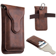 Premium Dual Pockets Vertical Leather Pouch Case - Brown