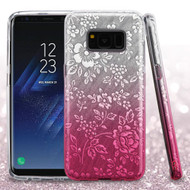 Full Glitter Hybrid Protective Case for Samsung Galaxy S8 Plus - Hibiscus Gradient Hot Pink