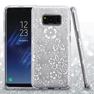 Full Glitter Hybrid Protective Case for Samsung Galaxy S8 Plus - Hibiscus Silver