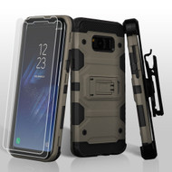 Military Grade Certified Storm Tank Case with Holster and Screen Protector for Samsung Galaxy S8 - Dark Grey