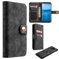 Luxury Coach Lite Series Leather Wallet with Removable Magnetic Case for Samsung Galaxy S8 - Black